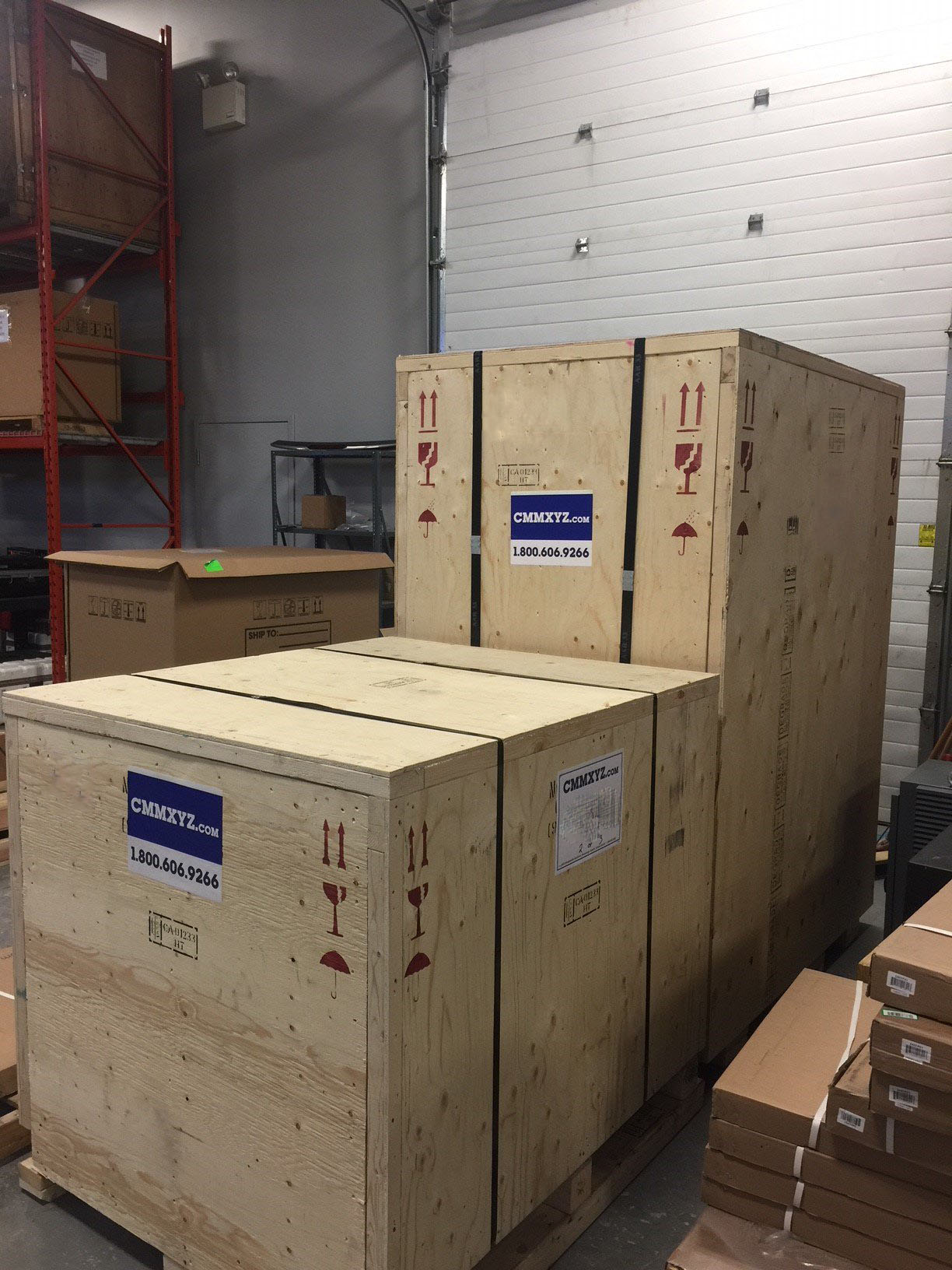 2 CMM crates with CMMXYZ labels